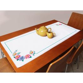 Cross stitch kit with a runner - Table runner with flowers