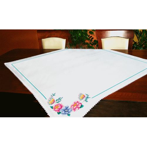 Cross stitch kit - Tablecloth with flowers
