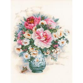 Cross stitch kit - Peonies and wild roses