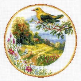 Cross stitch kit - Plate with oriole
