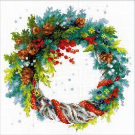 RIO 1603 Cross stitch kit - Wreath with blue spruce