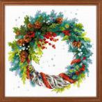 Cross stitch kit - Wreath with blue spruce
