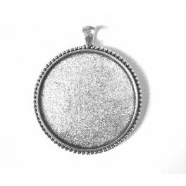 Medallion base round silver colour 40mm