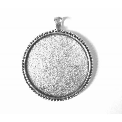 Medallion base round silver colour 40mm