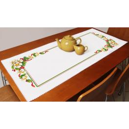 ZU 10194 Cross stitch kit with a runner - Christmas table runner with flowers
