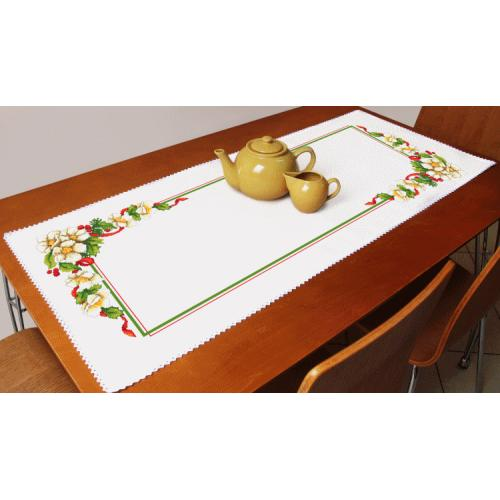 Cross stitch kit with a runner - Christmas table runner with flowers