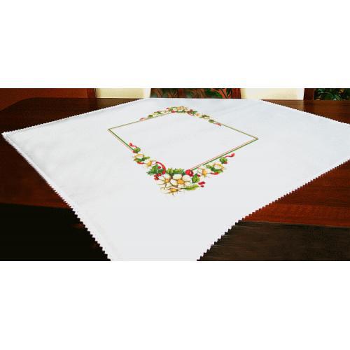 ZU 10196 Cross stitch kit - Christmas tablecloth with flowers