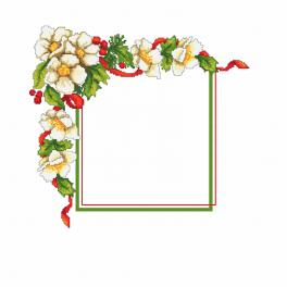 Cross stitch pattern - Christmas napkin with flowers