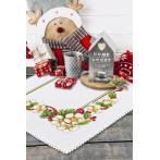 Cross stitch pattern - Christmas napkin with flowers