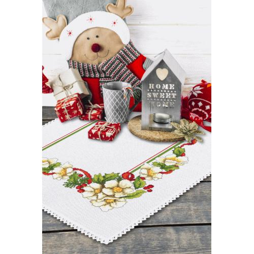 Cross stitch kit with mouline and napkin - Christmas napkin with flowers
