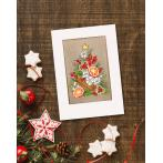 Cross stitch kit with a postcard - Postcard - Christmas tree