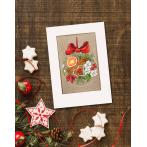 Cross stitch kit with a postcard - Postcard - Christmas ball