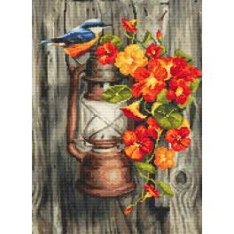 ZN 10198 Kit with tapestry and mouline - Mood nasturtiums