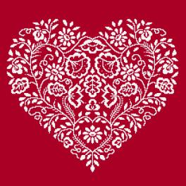 Cross stitch kit - Heart - White embroidery