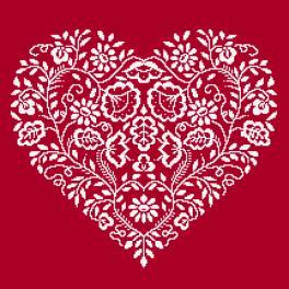 GC 8969 Cross stitch pattern - Heart - White embroidery
