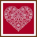 Cross stitch pattern - Heart - White embroidery