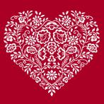 ONLINE pattern - Heart - White embroidery