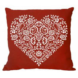 Cross stitch kit - Pillow - Heart - White embroidery
