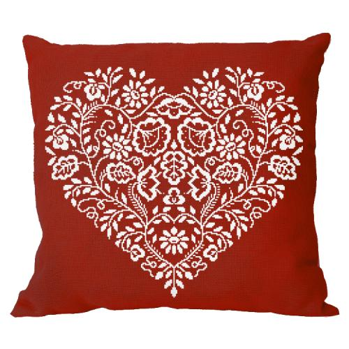 Cross stitch pattern - Pillow - Heart - White embroidery