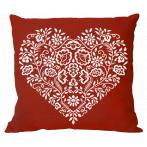 W 8969-01 ONLINE pattern - Pillow - Heart - White embroidery