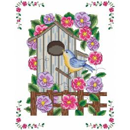 Graphic pattern - Bird house in flowers