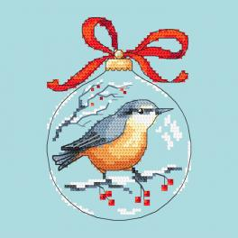 Cross stitch pattern - Christmas ball with a bird
