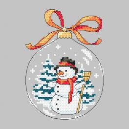 Cross stitch pattern - Christmas ball with a snowman