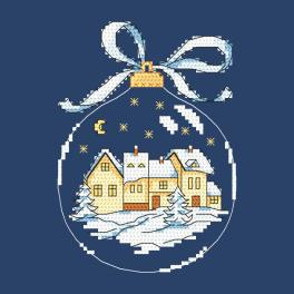 Cross stitch pattern - Christmas ball with a town