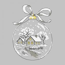 Cross stitch pattern - Christmas ball with huts