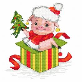 Cross stitch pattern - Christmas piggy