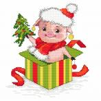Cross stitch pattern - Christmas piggy