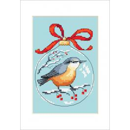 Cross stitch kit with a postcard - Postcard - Christmas ball with a bird