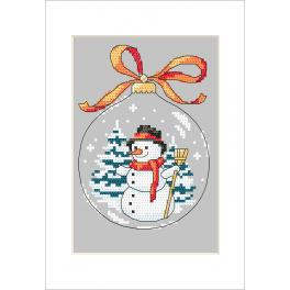 Cross stitch kit with a postcard - Postcard - Christmas ball with a snowman