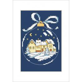 Cross stitch kit with a postcard - Postcard - Christmas ball with a town
