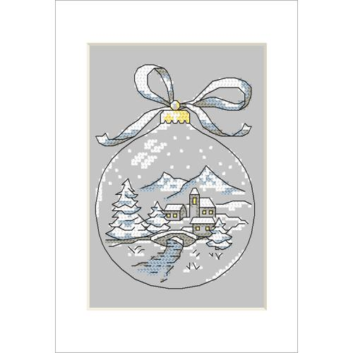 Cross stitch kit with a postcard - Postcard - Christmas ball with a bridge