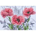 Cross stitch set with mouline and beads - Rosy suite