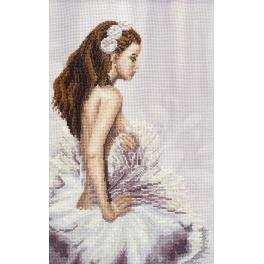 NHHK 4307 Cross stitch kit with mouline, beads and printed background - Snow