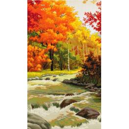 NHHD 0078 Cross stitch kit with mouline, beads and printed background - Autumn melody