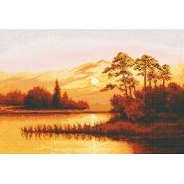 Cross stitch set - Sunset over the lake