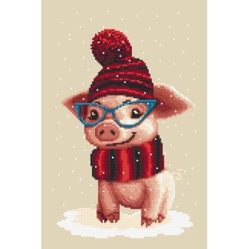 Graphic pattern - Winter piggy