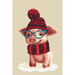 Kit with tapestry and mouline - Winter piggy