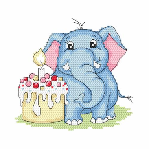 Z 10241 Cross stitch kit - Elephant - My 1st birthday