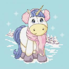 Cross stitch kit - Unicorn - Winter time