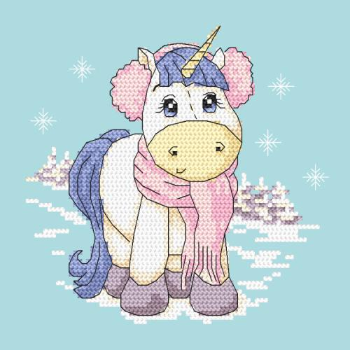 Cross stitch pattern - Unicorn - Winter time
