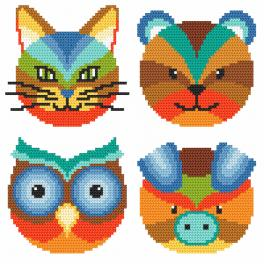 Cross stitch kit - Colourful animals