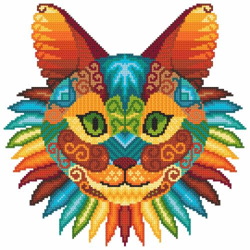 Kit with tapestry and mouline - Cat kaleidoscope