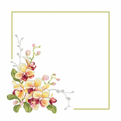 GU 10402 Cross stitch pattern - Napkin with orchids