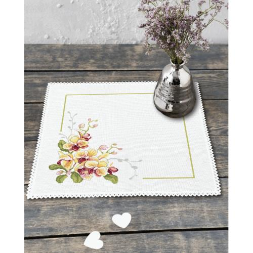 Cross stitch kit with mouline and napkin - Napkin with orchids