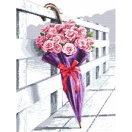 Cross stitch kit - Umbrella of blooming roses