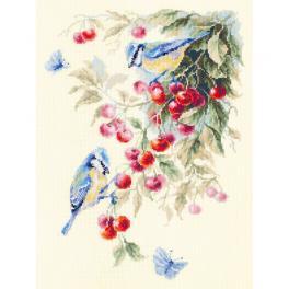 Cross stitch kit - Blue tits and cherry
